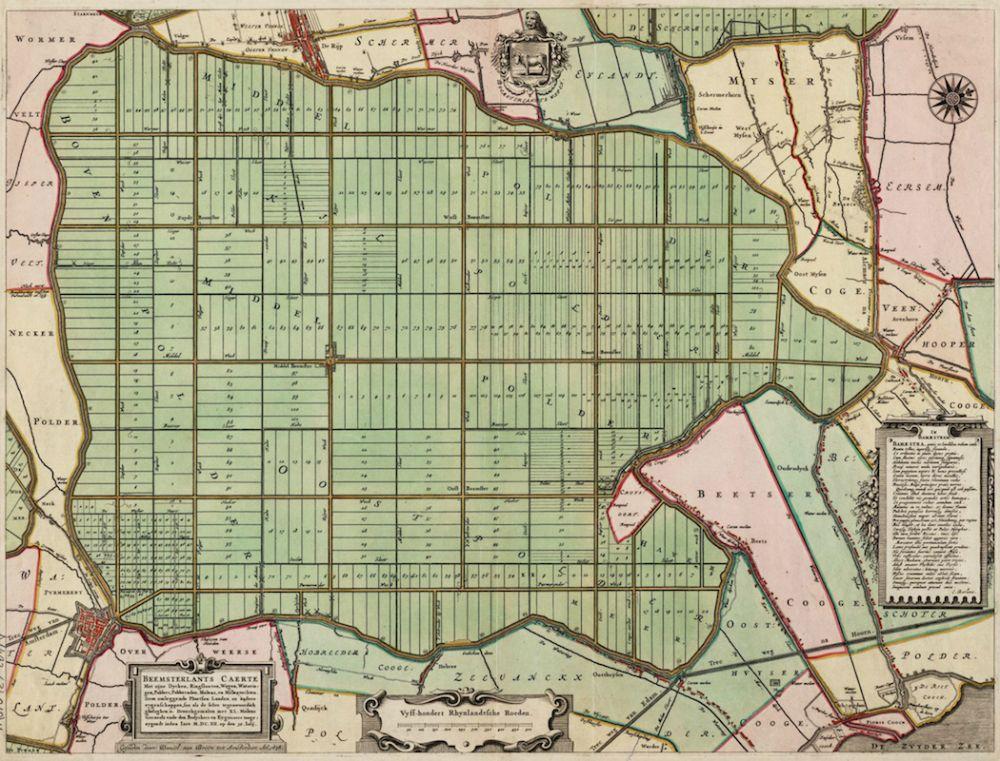 Kaart van de Beemster (gegraveerd door Daniel van Breen, 1658)