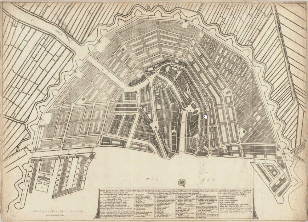 Plattegrond van Amsterdam door Daniël Stalpaert (1662)