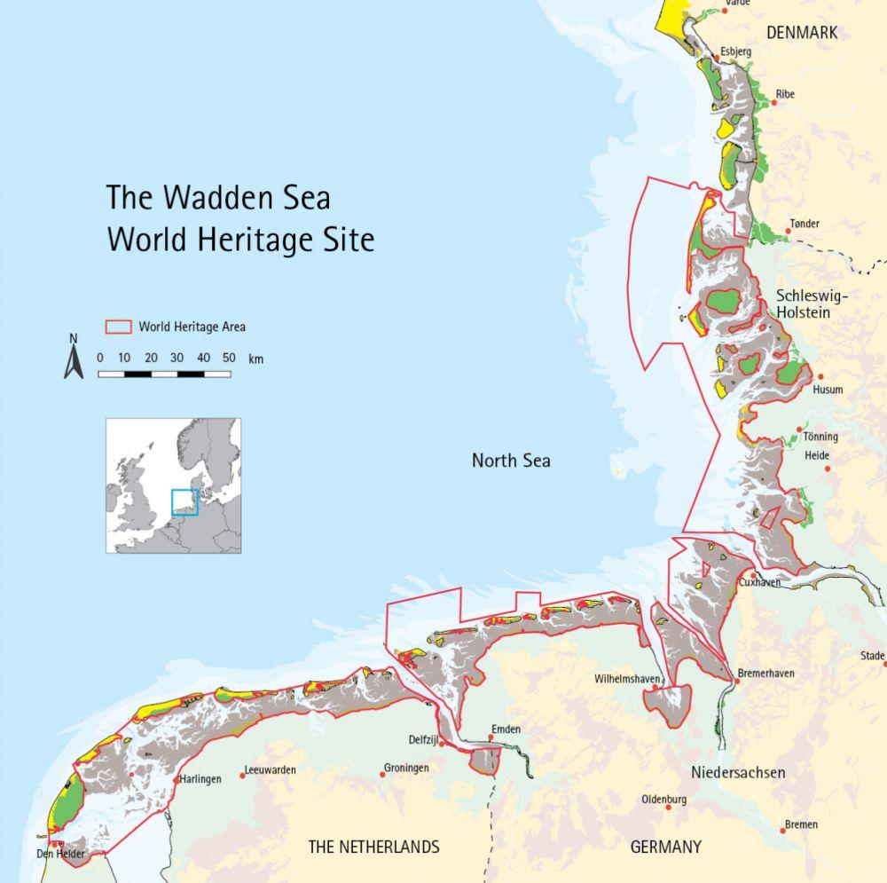 Kaart van de Waddenzee.