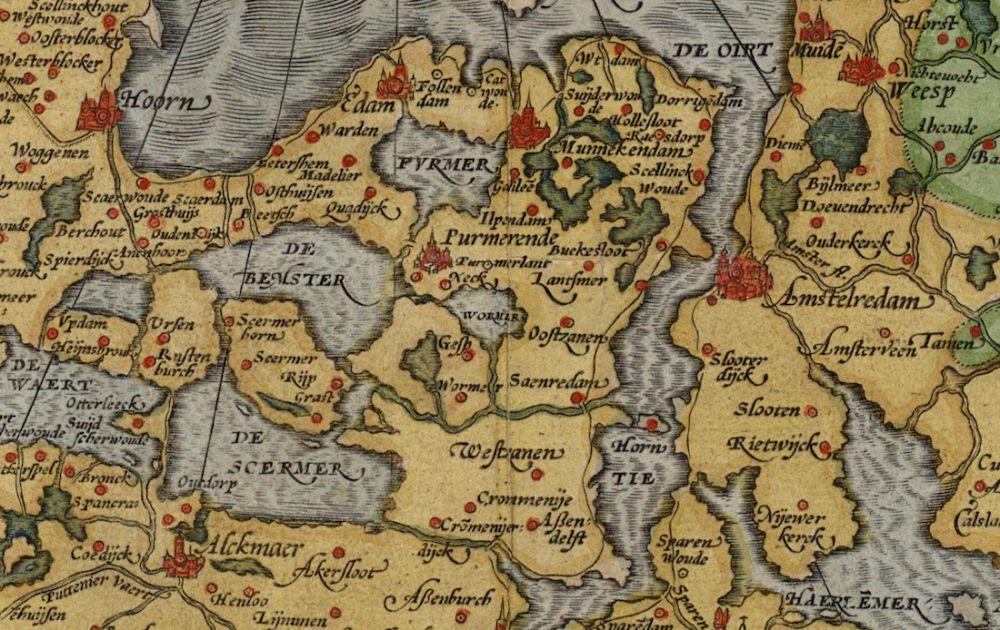 Beemstermeer, detail van de kaart van Jacob van Deventer van Holland en Zeeland (circa 1570)