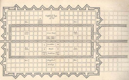 Ideale stad volgens Simon Stevin in zijn Vande Oirdeningh der Steden (circa 1605)