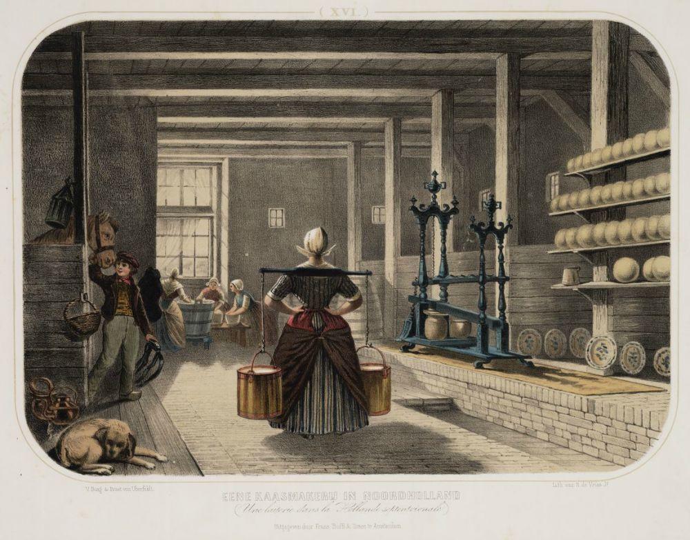 Kaasmaken in de zomerstal (prent van Valentijn Bing en Jan Braet van Uberfelt, ca. 1860)