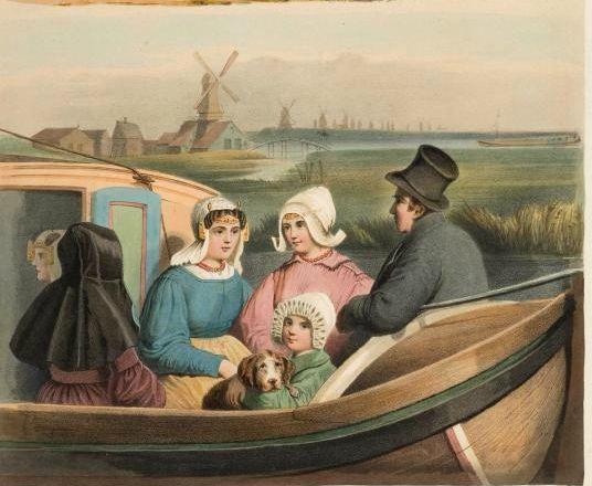 Een familie op het dek van een trekschuit (1857). Detail uit een prent van Valentijn Bing en Braet v. Ueberfeldt.