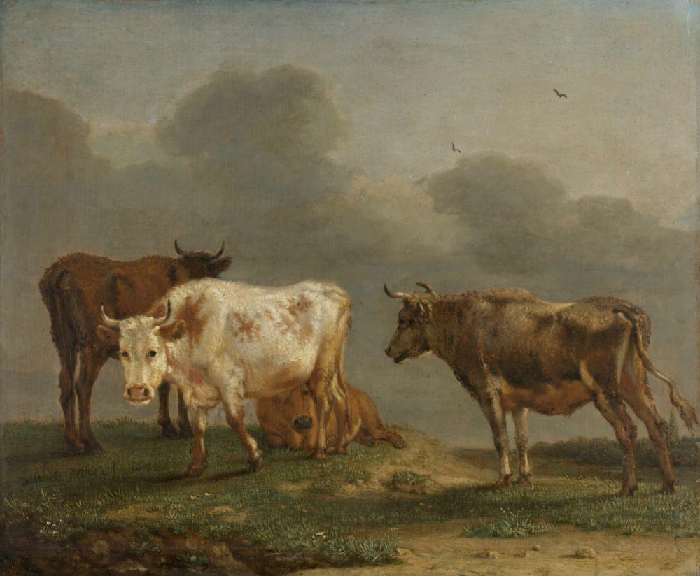 Vier koeien in de wei, schilderij van Paulus Potter (1651).