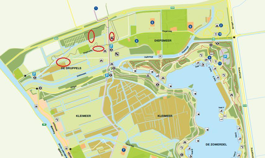 Uitsnede van de kaart van recreatiegebied Geestmerambacht.