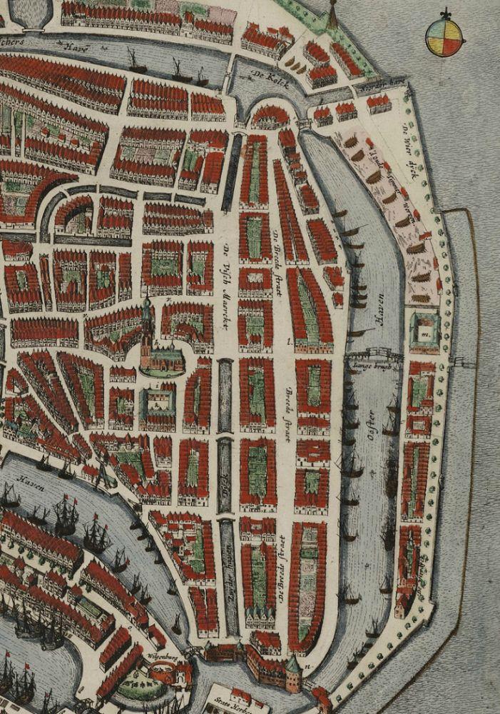 Uitsnede van de kaart van Frederik de Wit uit circa 1698.