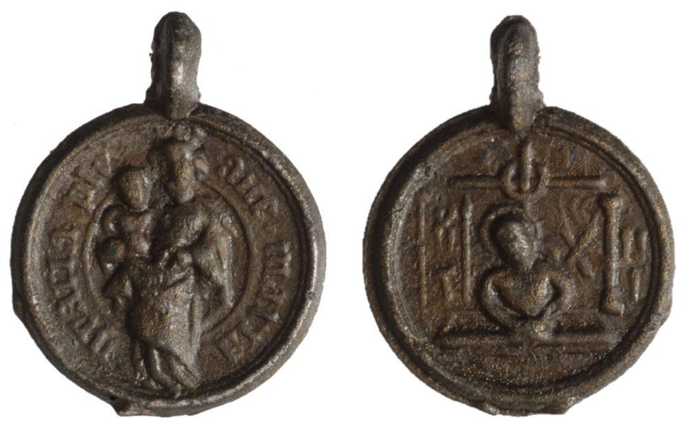 Hanger van lood/tin uit ca. 1475-1525.
