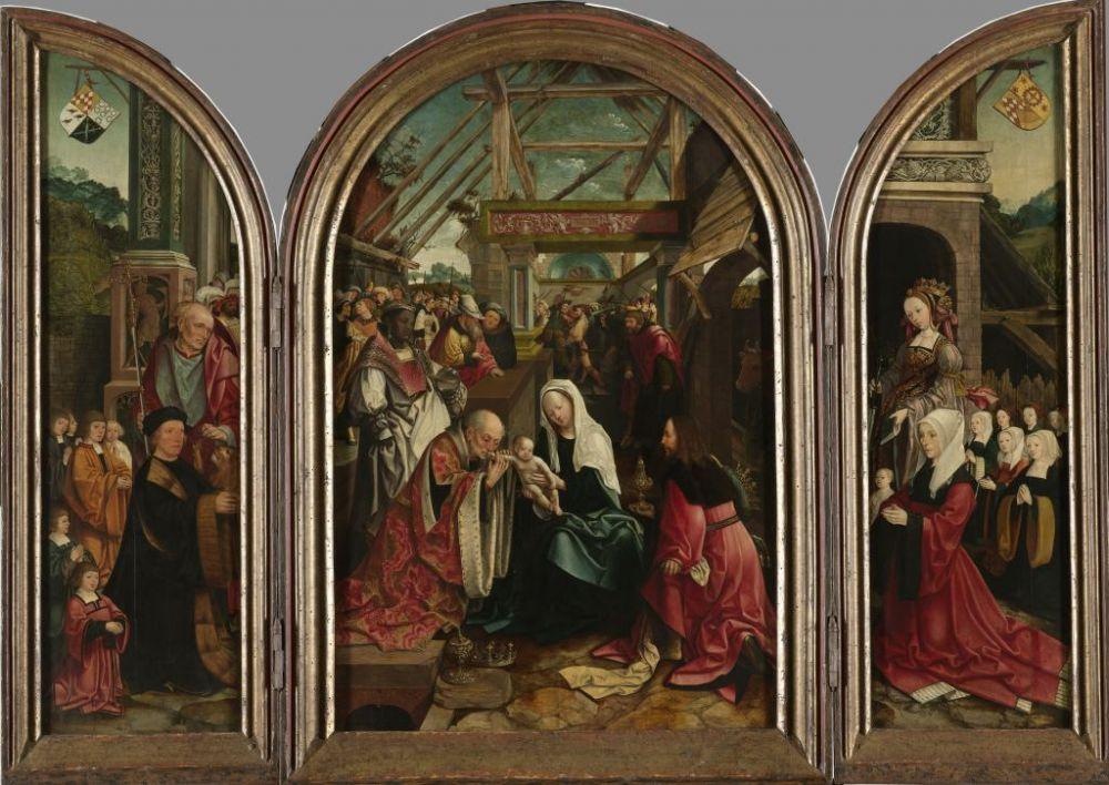 Jacob Cornelisz van Oostsanen: Drieluik met de Geboorte van Christus,1517.