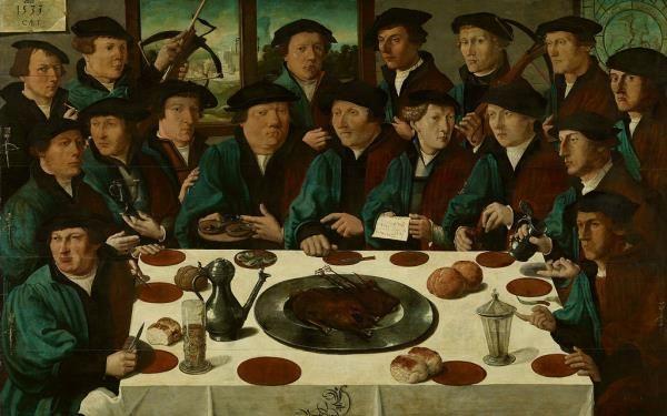 Cornelis Anthonisz.: Zeventien schutters van de Voetboogdoelen, genaamd de Braspenningmaaltijd, 1533.