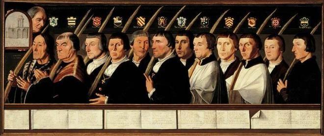 Jan van Scorel: Twaalf leden van de Haarlemse Jeruzalembroederschap, ca. 1528.