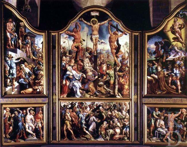 Maarten van Heemskerk: Sint Laurentiusaltaar voor de Grote Kerk in Alkmaar, 1542; thans in Linköping (Zweden), Dom.