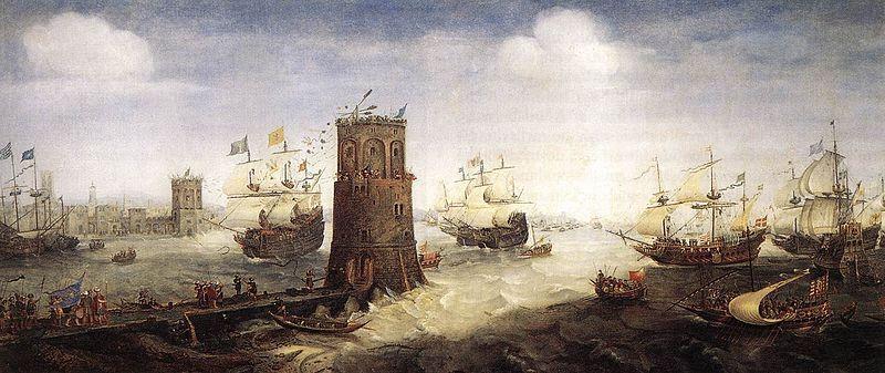 Slag bij Damiate geschilderd door Cornelis Claesz. van Wieringen.