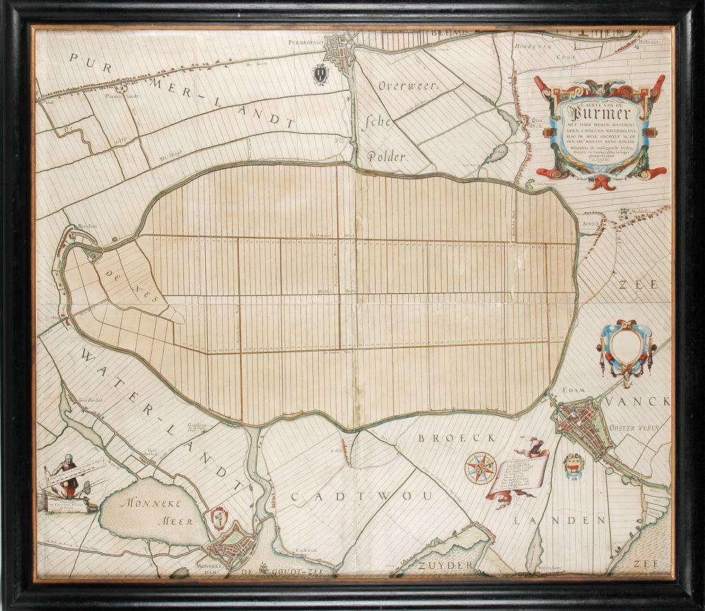 Kaart van het ingepolderde Purmermeer.