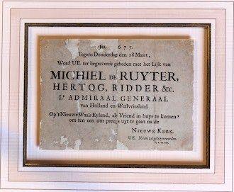 Rouwbrief van het overlijden van Michiel de Ruyter.