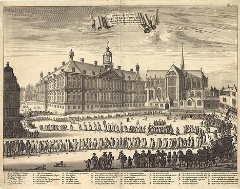 Begrafenis van Michiel de Ruyter in Amsterdam, door Romeyn de Hooghe.