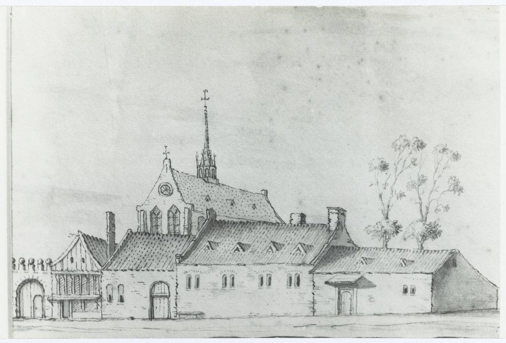 Catharinaklooster te Gouda (15e eeuw), later tuchthuis, door Jacobus Stellingwerf.
