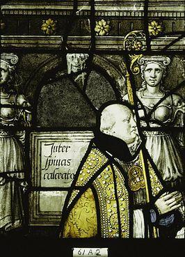 Bisschop Nicolaas van Nieuwland op een kerkraam in Gouda, 1559.