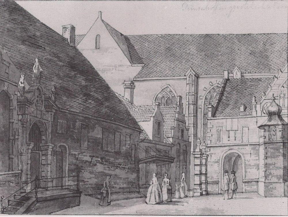 Gezicht op de Grote Kerkstraat ter hoogte van Jan Braskersteeg - Kerkepad.