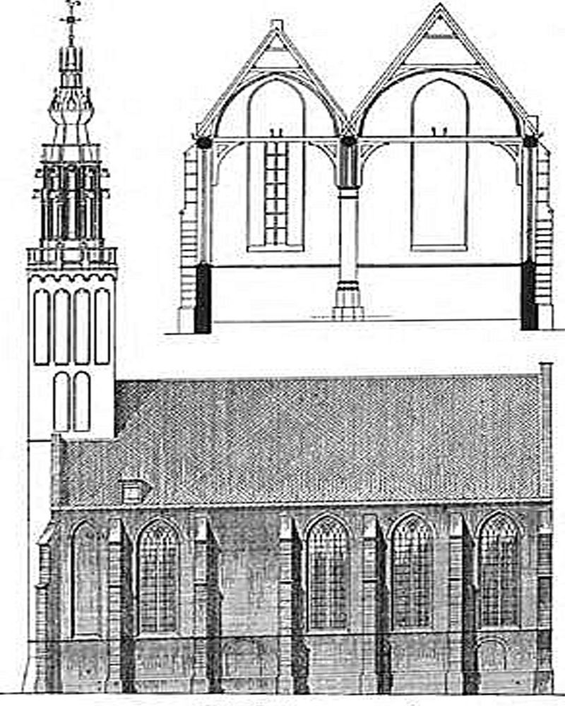 Tekening met doorsnede van de Kleine of O.L.V. Kerk van Edam.