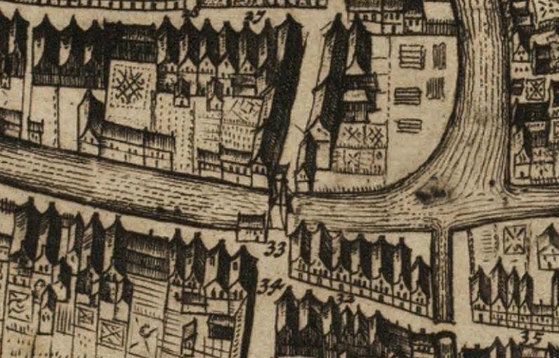 De Kwakelbrug op een kaart van Frederick de Wit (na 1698).