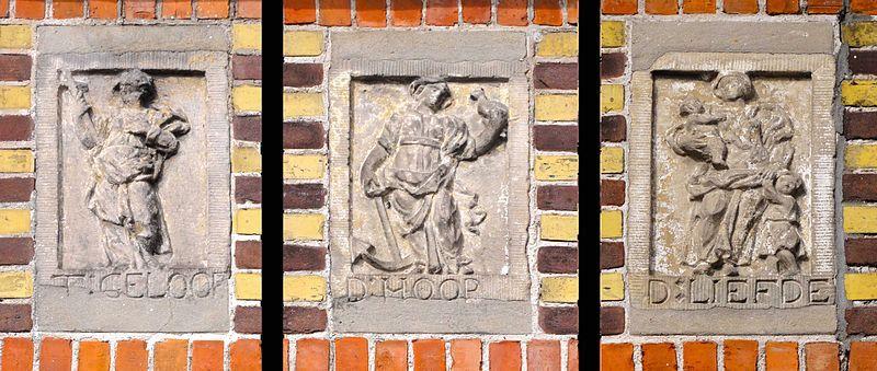 De gevelstenen van het pand op Nieuwehaven 40.