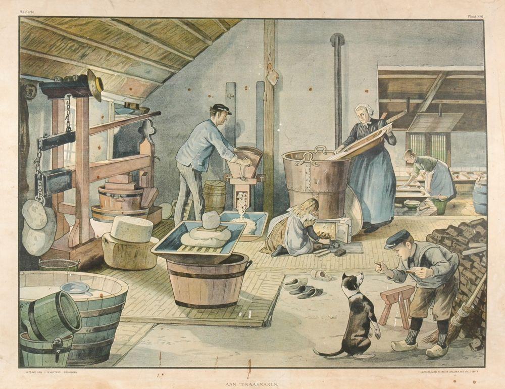 Schoolplaat: kaas maken op de boerderij.
