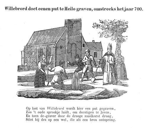 """Detail uit een negentiende-eeuwse centsprent over de """"vroegere godsdienst""""."""