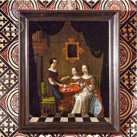 Drie jonge vrouwen in een theesalet