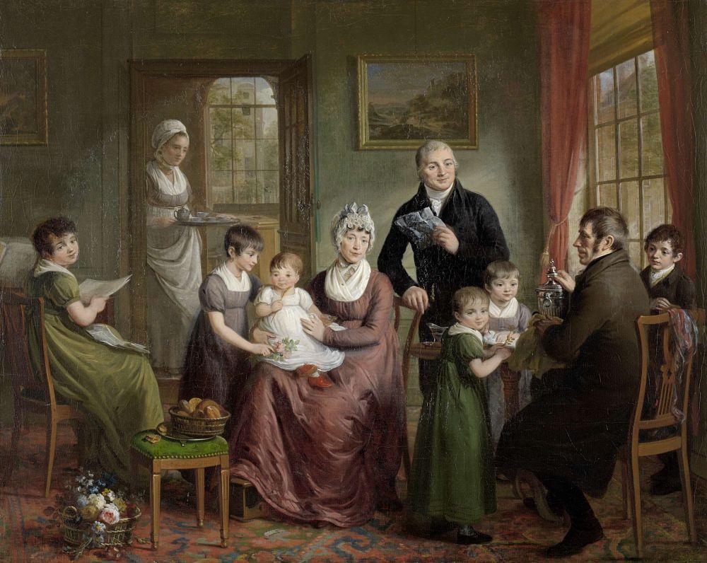 Portret van de familie van Adriaan Bonebakker met Dirk L. Bennewitz, Adriaan de Lelie, 1809