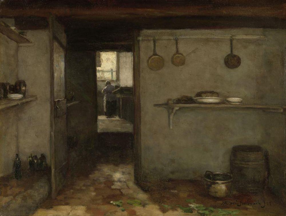 Doorkijkje in het onderhuis van Weissenbruchs woning in Den Haag, Johan Hendrik Weissenbruch, 1888