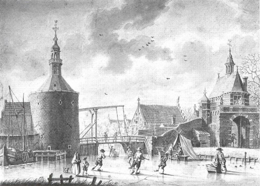 Oosterpoort en Halsbanttoren (tekening I. Ouwater, 1750-1793).