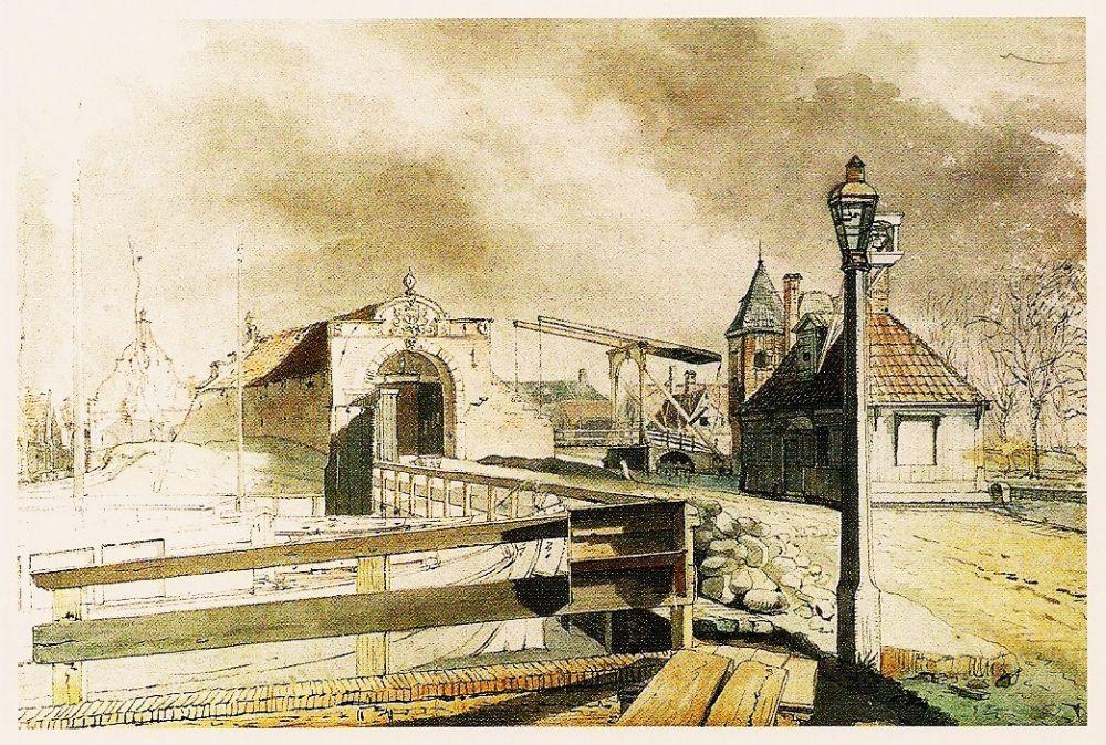 Purmerpoort met trekschuit naar Hoorn.