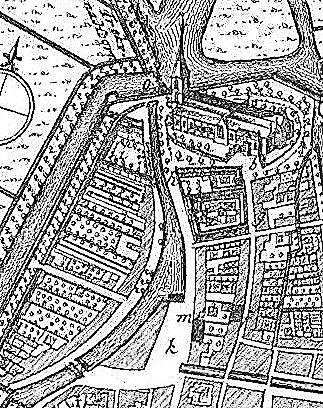 Locatietekening van de Noorderpoort, 1743 (Isaäc Tirion).