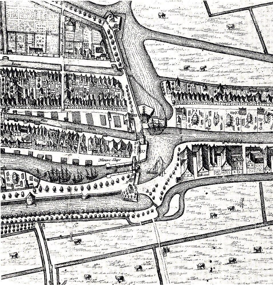 Locatietekening oostelijke poorten, Joan Blaeu (ca. 1665, uitg F. de Wit).