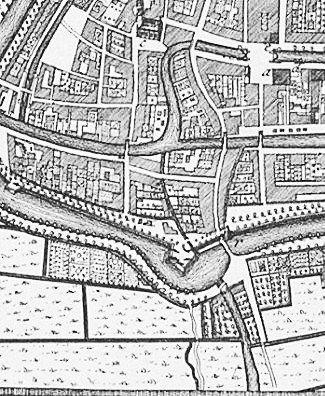 Locatietekening Zuidelijke poort, 1743 (Isaäc Tirion).