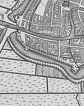 Locatietekening westelijke poorten, 1743 (Isaäc Tirion).