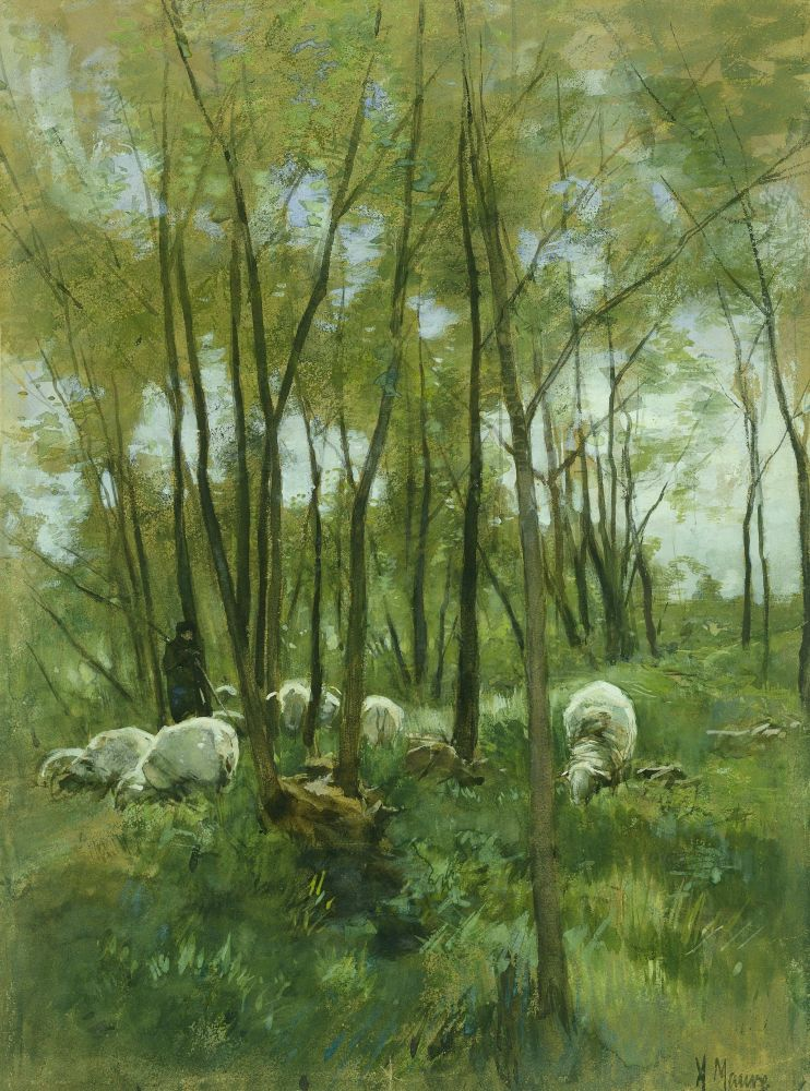 Schapenkudde in een bos, Anton Mauve, tussen 1838-1888