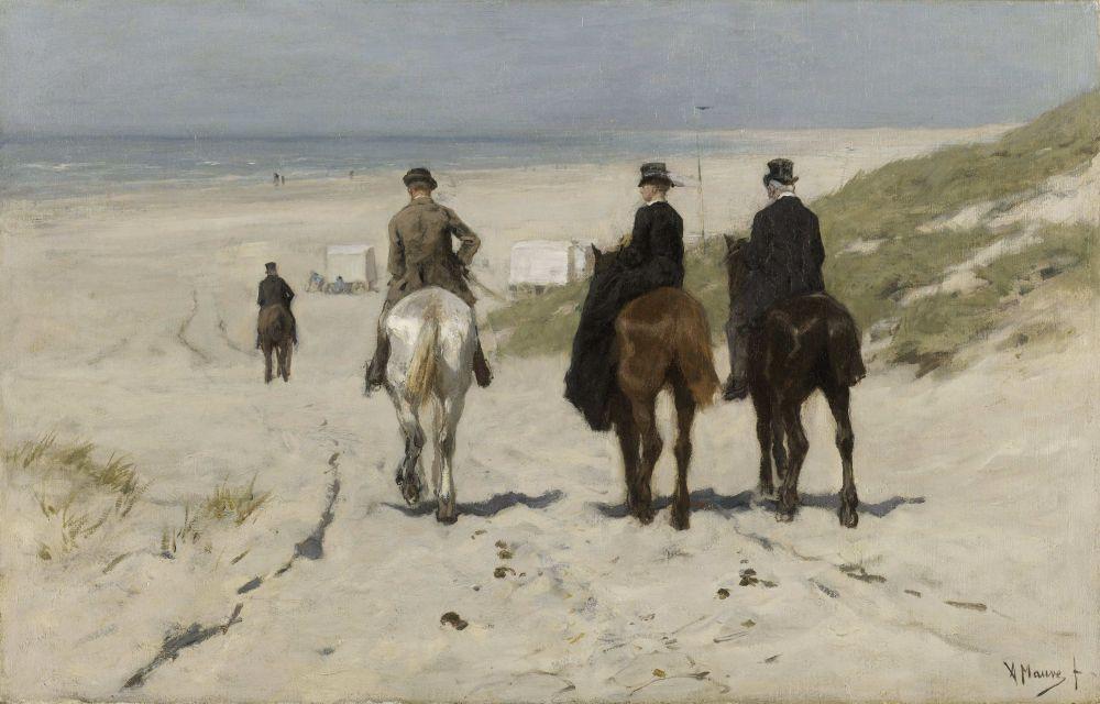 Morgenrit langs het strand, Anton Mauve 1876
