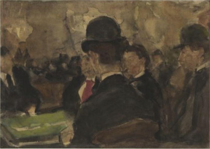 Een groepje kunstenaars aan een tafel in een café, vermoedelijk Mille Colonnes of het Panopticum