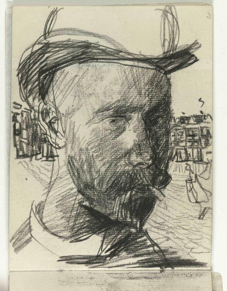 Zelfportret, Isaac Israels, schetsboektekening ca. 1880
