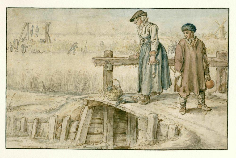 Vrouw en jongen op een brug bij het ijs, Hendrick Avercamp,1595 - 1634