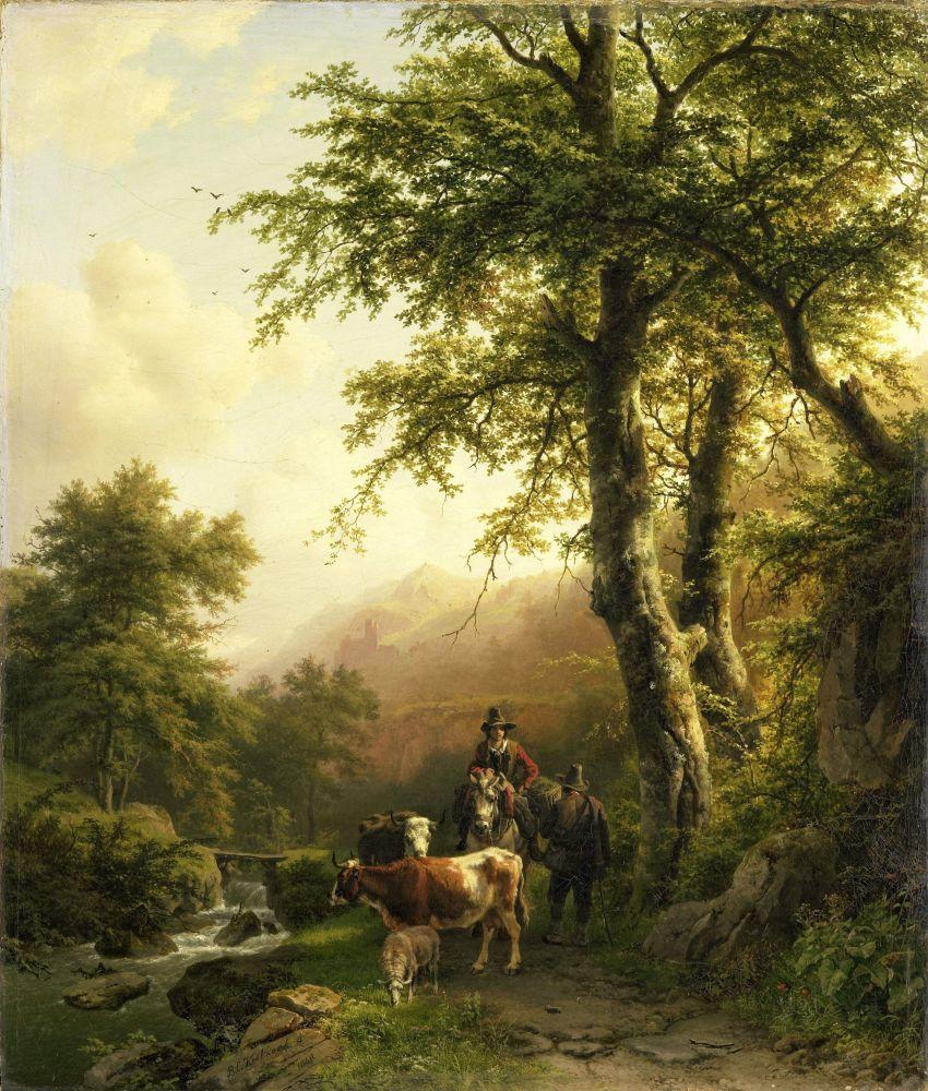 Italiaans Landschap, Barend Cornelis Koekkoek, 1848.