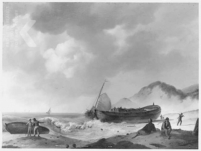 Wrak van een kofschip op het strand, Johannes Hermanus Koekkoek, (tussen 1793 - 1820)