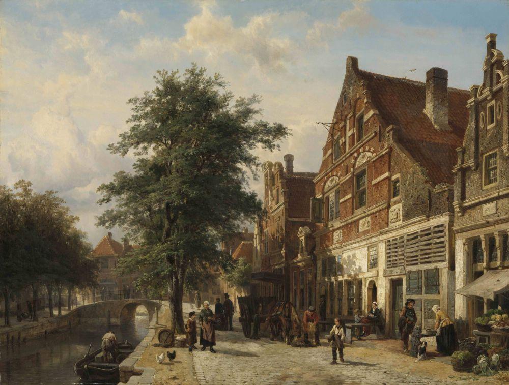 De Zuiderhavendijk te Enkhuizen, Cornelis Springer, 1868