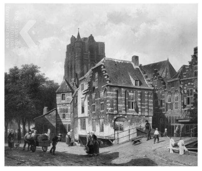 Fantasie-stadsgezicht met de kerktoren van Wijk bij Duurstede, Cornelis Springer, 1855.