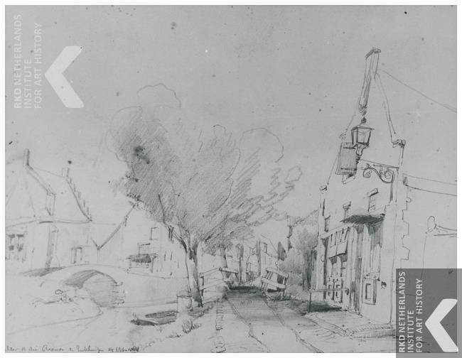 Achter Driebanen in Enkhuizen, Cornelis Springer, 14 oktober 1864
