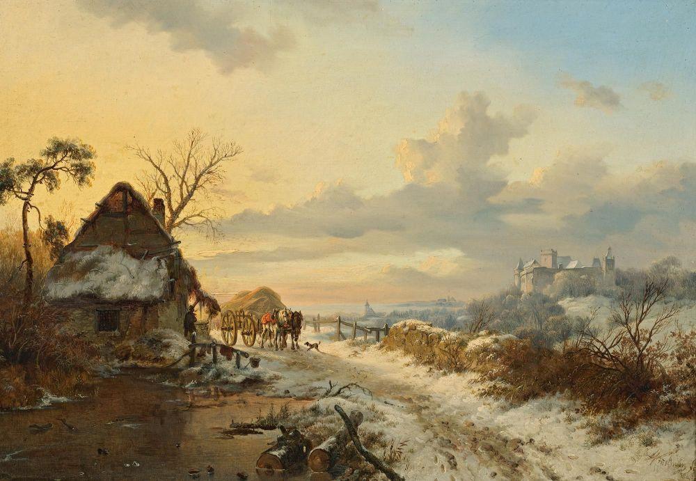 Winterlandschap met paarden en karren, Frederik Marinus Kruseman, 1846