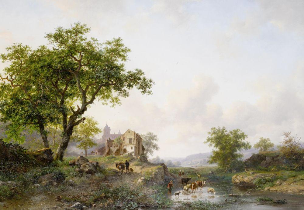 Zomer landschap met vee in de buurt van een rivier, Frederik Marinus Kruseman, 1868