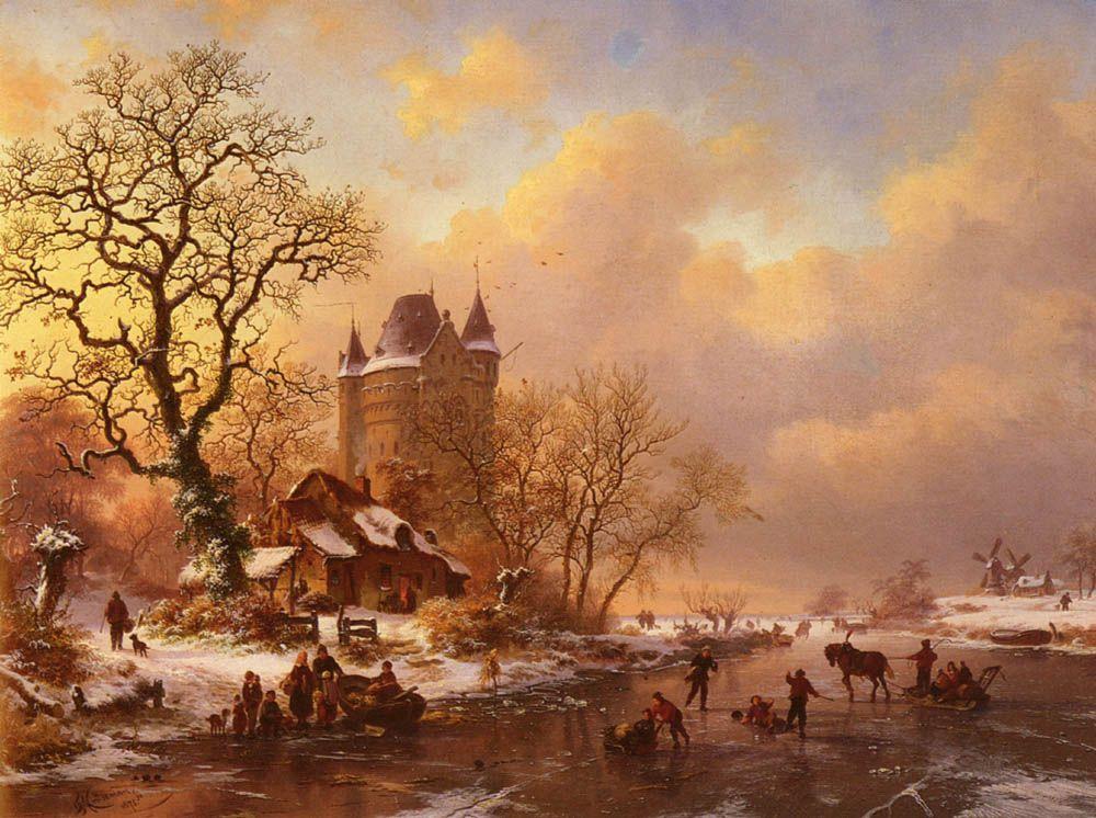 Winterlandschap met schaatsers bij een toren, Frederik Marinus Kruseman, 1875.