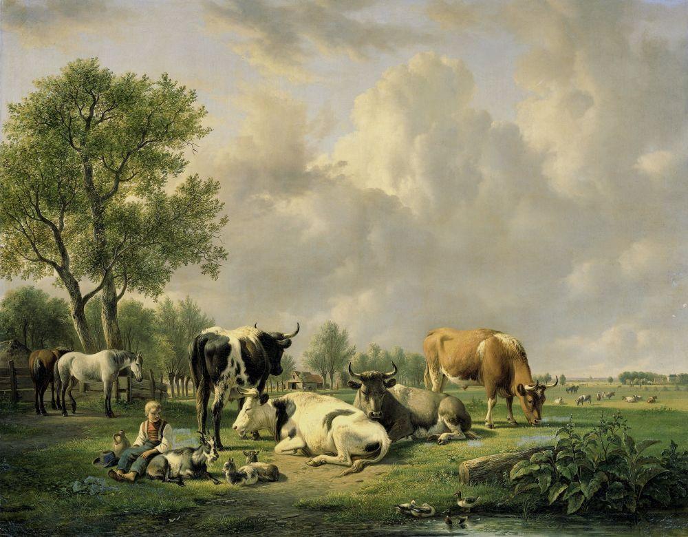 Weide met vee, Jan van Ravenswaay, 1820-1837.